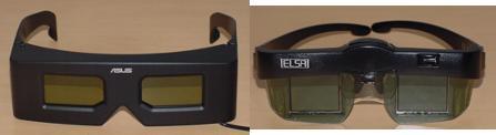 Links ASUS VR100G, rechts ELSA 3D Revelator IR
