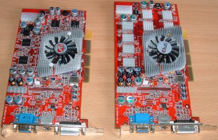 Radeon 9800 Pro - links mit 128MB, rechts mit 256MB