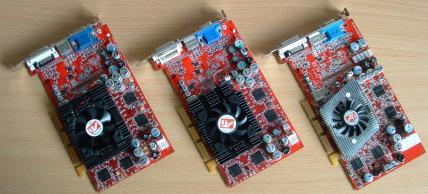 Links: Radeon 9700 - Mitte: Radeon 9800 SE - Rechts: Radeon 9800 Pro