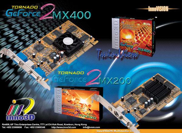 Die ersten GeForce2 MX200 und MX400 Karten von InnoVISION