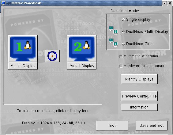 Matrox DualHead Konfiguration