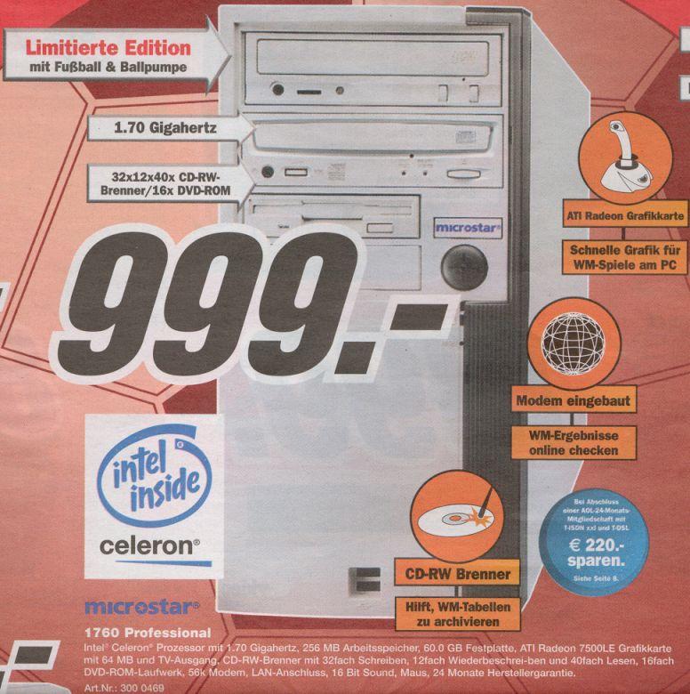 MediaMarkt Angebot PC mit Intel Celeron 1.7 GHz