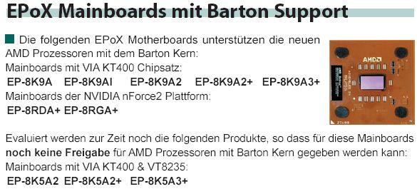 EPoX Mainboards und der Barton