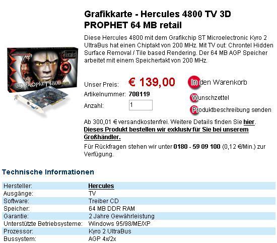 Hercules 3D Prophet 4800 bei Vobis