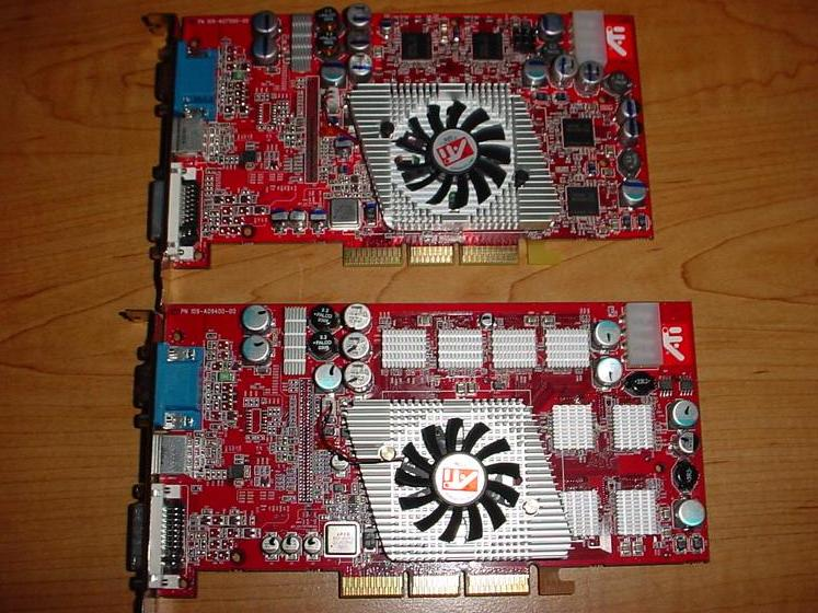 ATI Radeon 9800 Pro 128MB (oben) und 256MB (unten)