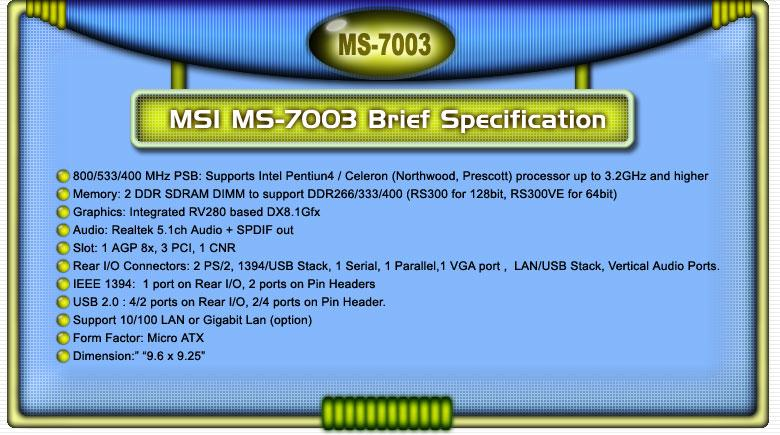 MSI MS-7003 Mainboard Spezifikationen