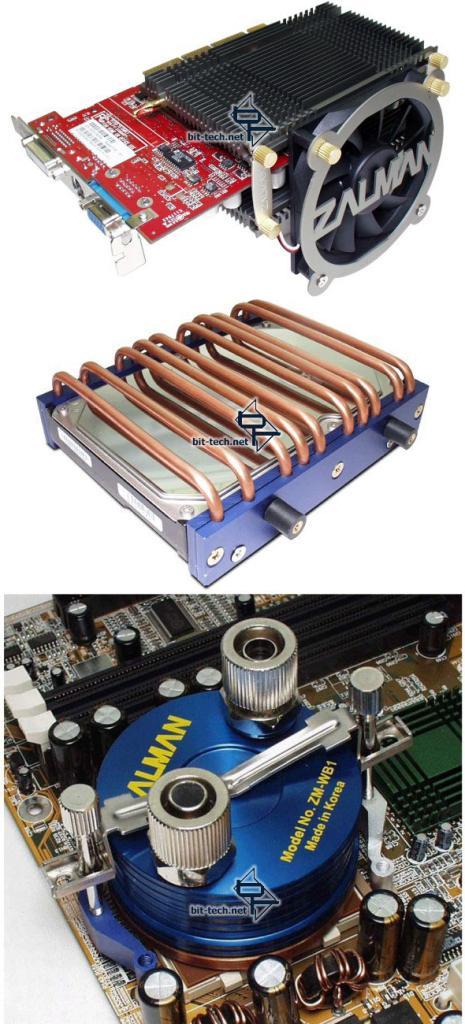 Zalman ZM80C-HP plus ZM-OP1, Zalman 2HC1 und Zalman ZM-WB1