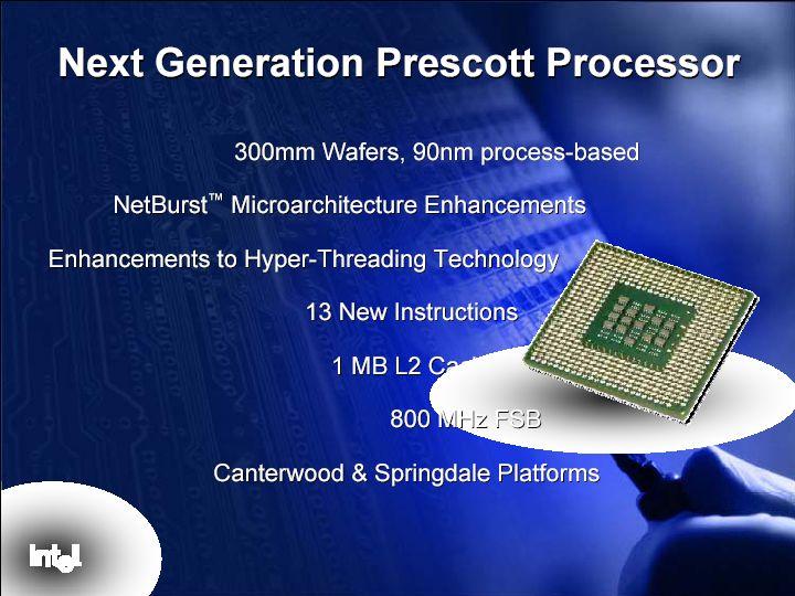 Intel Präsentation des Prescott auf dem Intel Developer Forum im Februar 2003