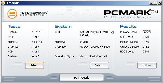 PCMark04 Hauptfenster