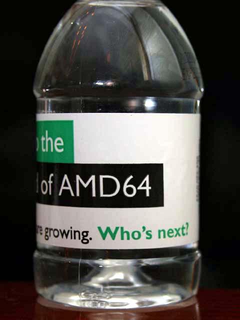 Von AMD vor dem IDF verteilte Mineralwasserflasche