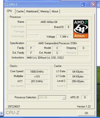 AMD Sempron Informationen aus CPU-Z