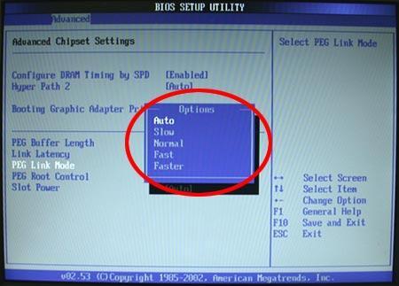 ASUS ''PEG Link Mode'' im BIOS-Setup