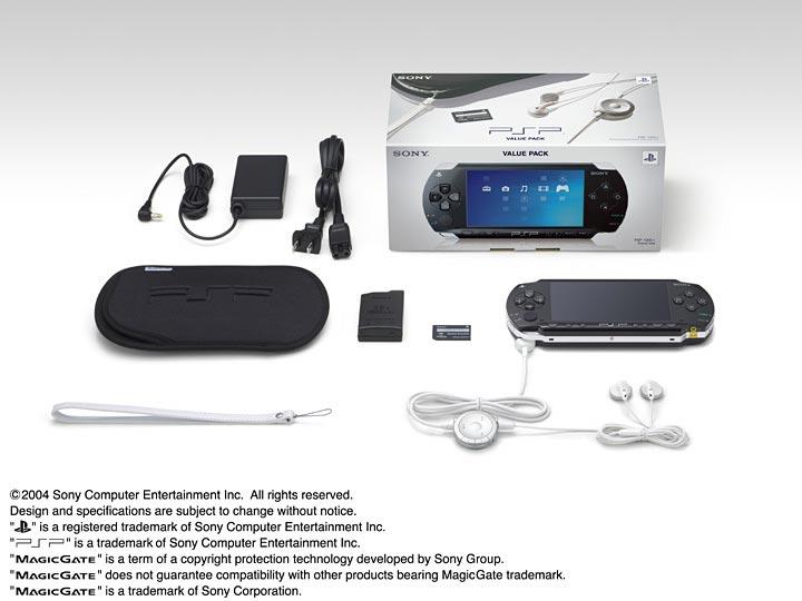 PSP Value Pack mit AC Adapter, Li-Io Akku, Kopfhörer, Softcase, Trageschlaufe und Memory Stick Duo