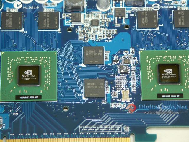 Zwei GeForce 6600 GT Grafikchips auf der ASUS EN6600GT Dual