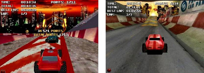 Stuntcar Extreme ohne und mit GoForce 4800 Unterstützung