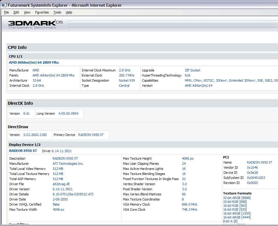 3DMark05 Infos über Radeon X950 XT