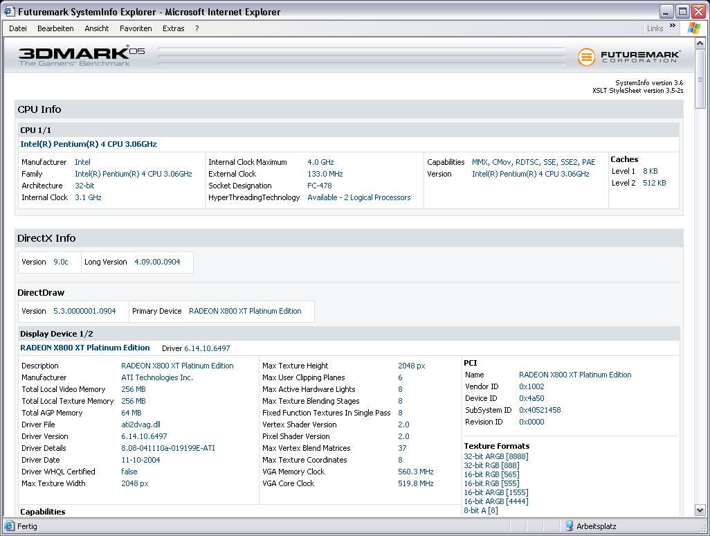 Zum Vergleich: 3DMark05 Infos über Radeon X800 XT PE