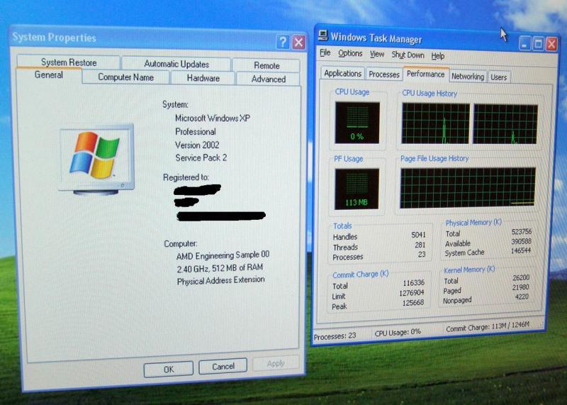 Windows XP erkennt zwei CPU-Kerne