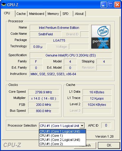 CPU-Informationen Pentium Extreme Edition (Codename: Smithfield)