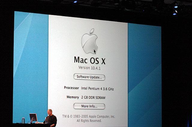 Demonstration von Mac OS X auf einem Pentium 4
