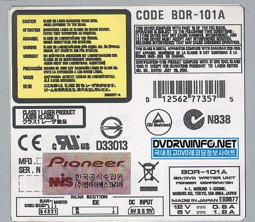 Pioneer BDR-101A Label