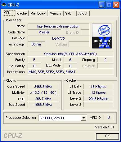 Intel Pentium Extreme Edition 955 CPU-Z Screenshot