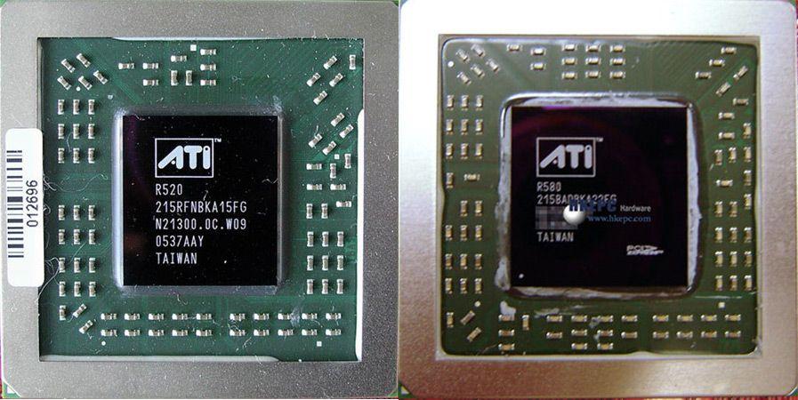 ATI R520 und R580 Grafikchips im Größenvergleich (Bild von X-bit labs)