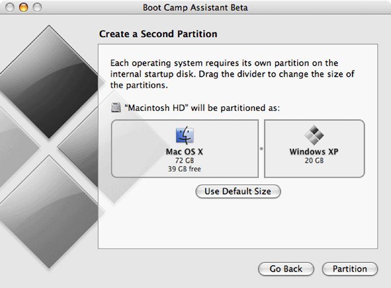 Einrichtung der zweiten Partition für Windows
