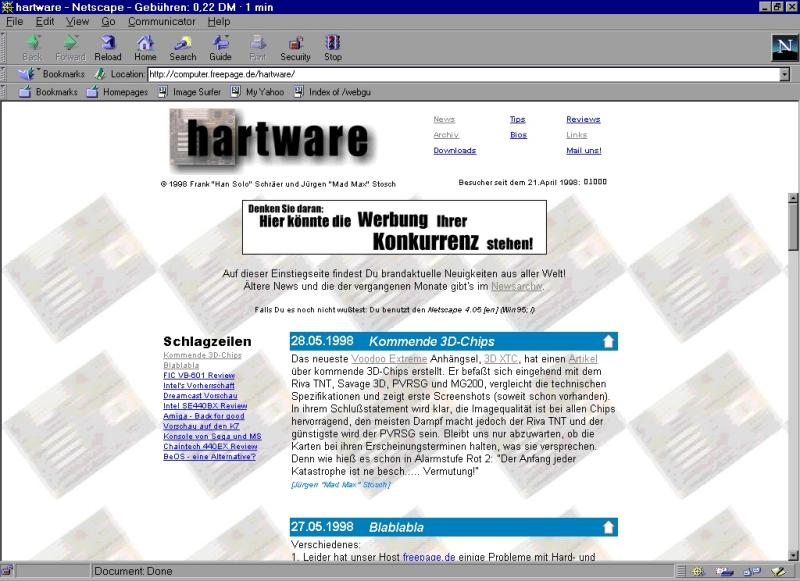Hartware in den Anfangstagen - Screenshot vom ersten Design (28.5.1998)