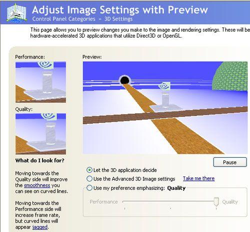 Control Panel: 3D-Einstellungen mit Vorschau