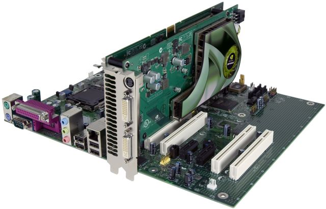 nVidia GeForce 7950 GX2 Grafikkarte auf Mainboard