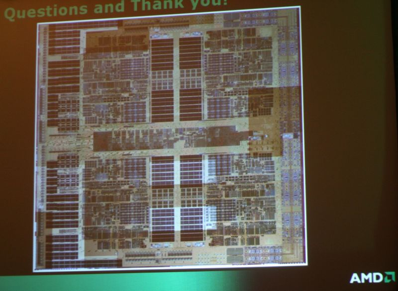 Photo vom Die des AMD Quad-Core Opteron
