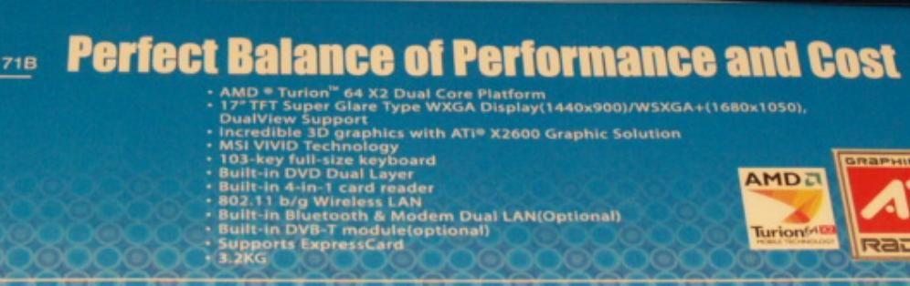 Spezifikationen des MSI ER710: u.a. mit ATI X2600 Grafik
