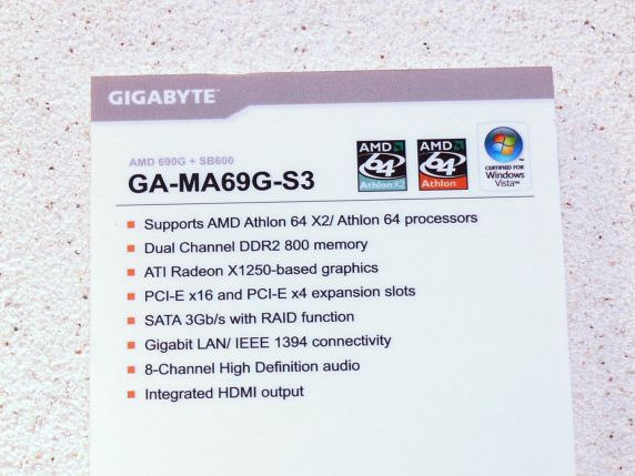 Gigabyte GA-MA69G-S3 Spezifikationen