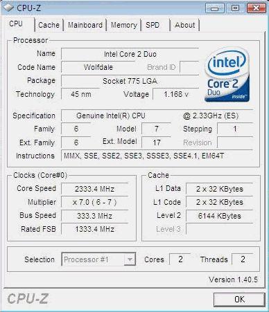 Intel Wolfdale CPU-Informationen
