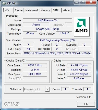 CPU-Z: Phenom 2,856 GHz