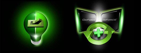 Logos: HybridPower links und GeForce Boost rechts