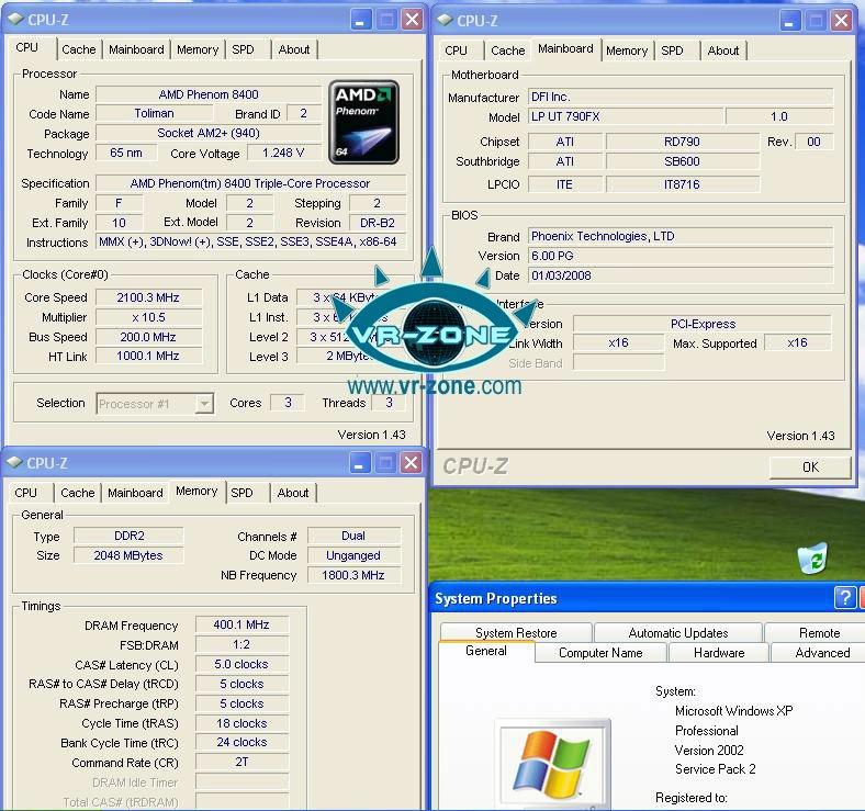 Systeminformationen zum Triple-Core Phenom 8400
