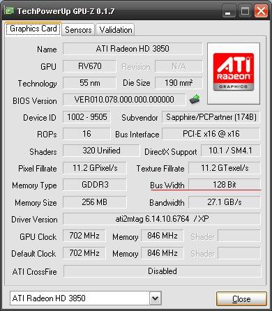 Sapphire Radeon HD 3690 Informationen von GPU-Z