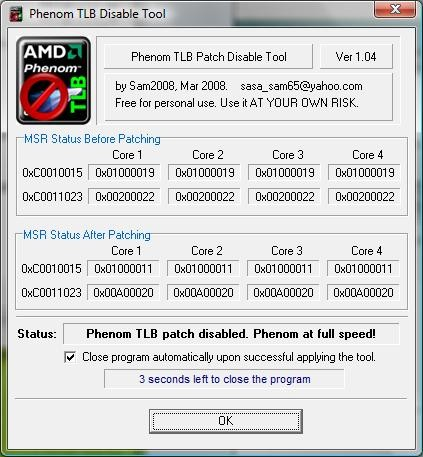 Phenom TLB Patch Disable Tool