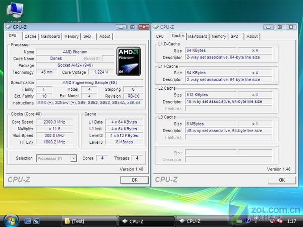 CPU-Informationen des 45nm Deneb