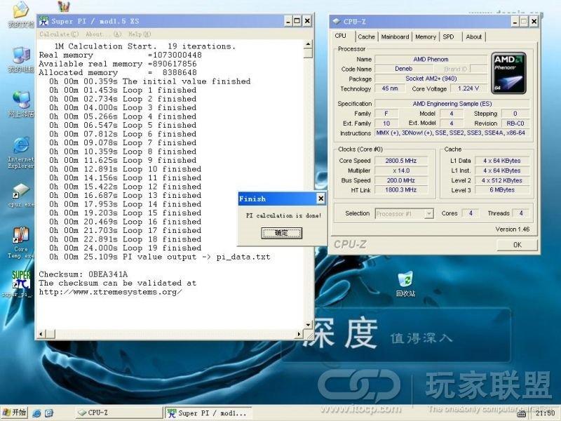 Übertaktet auf 2800 MHz (Standard-Spannung 1,224V)