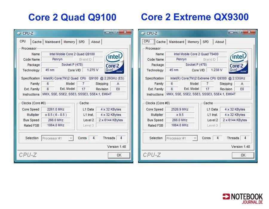 Core 2 Quad Extreme QX9300 / Q9100 Infos