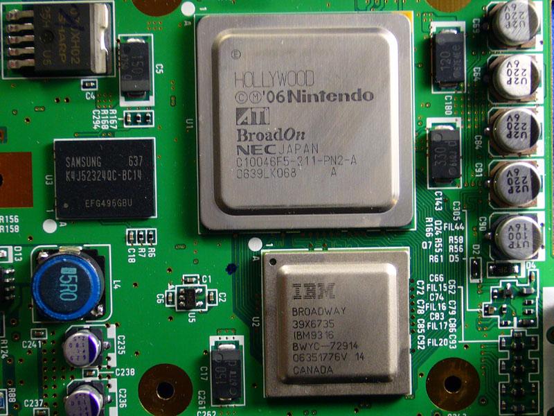 ATI Hollywood Grafikchip und Broadway CPU von IBM in der Nintendo Wii