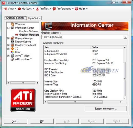 Catalyst Control Center Infos zur Radeon HD 4890