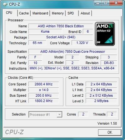 CPU-Infos des Athlon X2 7850
