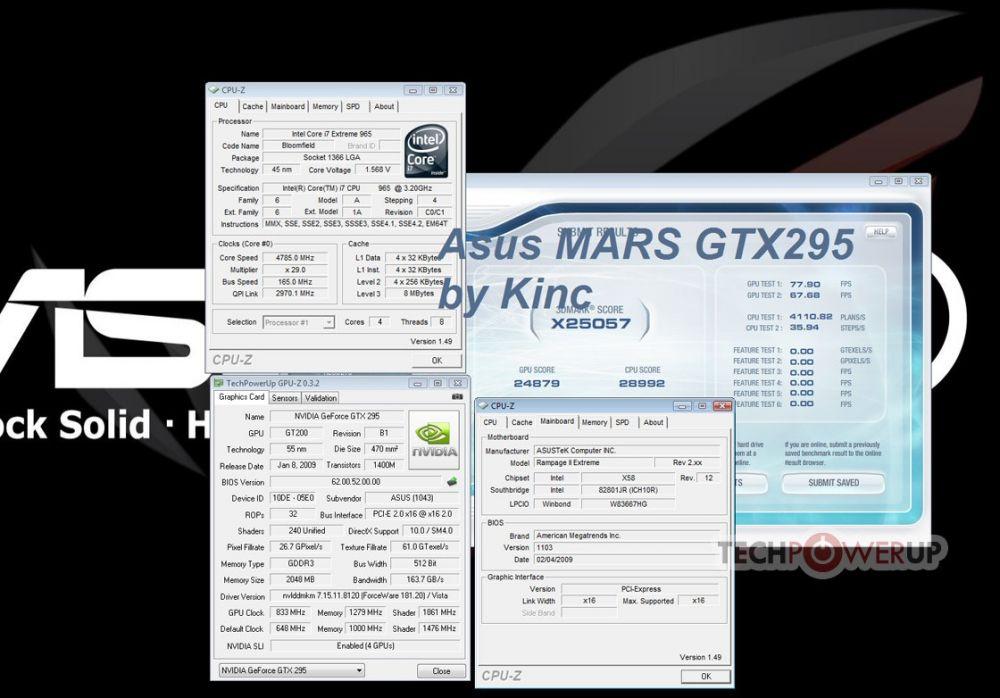 3DMark Vantage von zwei übertakteten ASUS MARS 295 Limited Edition auf übertaktetem Core i7 965