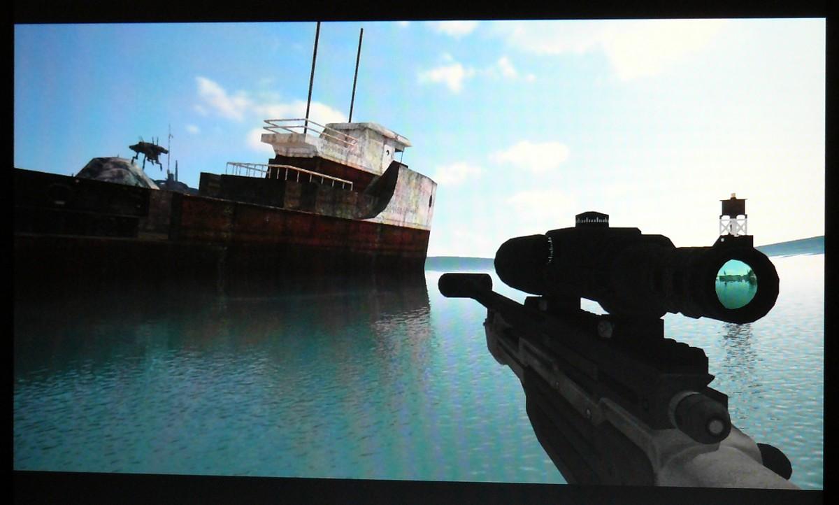 Spiegelung in einem auf ein Gewehr montiertes Zielfernrohr