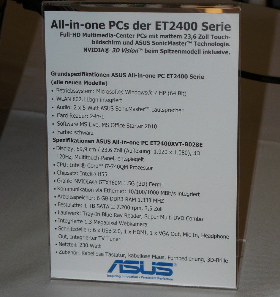 ASUS All-in-one ET2400VXT Spezifikationen