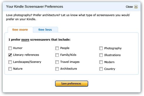 Kindle - Screen Saver Preferences